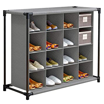 Free Standing Shoe Storage Shelf Details about  /FKUO 4-Tier 16-Pair Shoe Rack Cubby Organizer