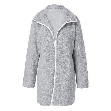 Manteau Hiver Femme très Chaud,Koly Veste en Velours Femme Grande Taille  Mode Cachemire Overcoat 529069d25a79