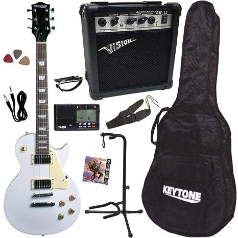 Guitarra eléctrica LP blanca sola o Pack/accastillage cromado ...