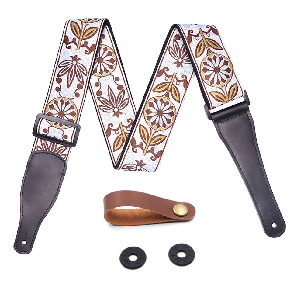 FluTune Leather Adjustable Guitar Strap - Jacquard Weave Collection Strap Set For Acoustic and Electric Guitar With Genuine Leather Ends