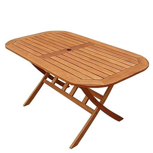 Indoba - Mesa de jardín Plegable de Madera de eucalipto para 6 ...