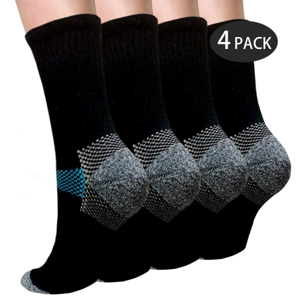 Sport Plantar Fasciitis Compression Socks Arch Support Ankle Socks - Best For Running, Athletic, and Travel (Small/Medium, Black 1)