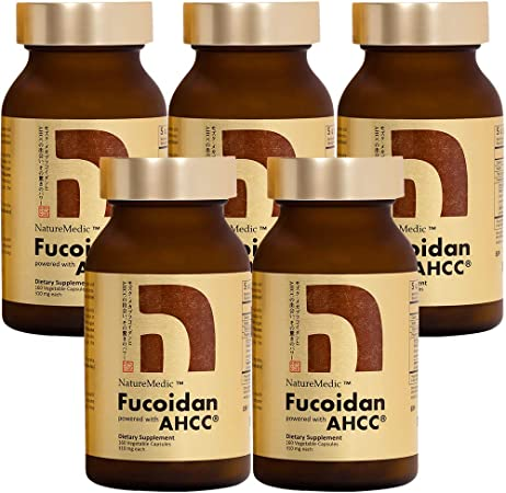 NatureMedic Fucoidan Powered with AHCC® Brown Seaweed Immunity Supplement with High Purity Organic Mekabu Mozuku Agaricus 5 Bottles - 800 Vegetable Capsules Made in Japan