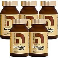 NatureMedic Fucoidan AHCC Brown Seaweed Immunity Supplement with Organic Mekabu Mozuku Agaricus 5 Bottles and Free 3 Bags of 12 Capsules 836 Vegetable Capsules Made in Japan