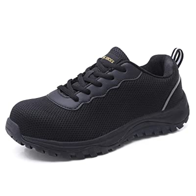 aeepd Steel Toe Shoes Men, Safety Work Sneakers Reflective Strip Industrial & Construction Shoe: Shoes