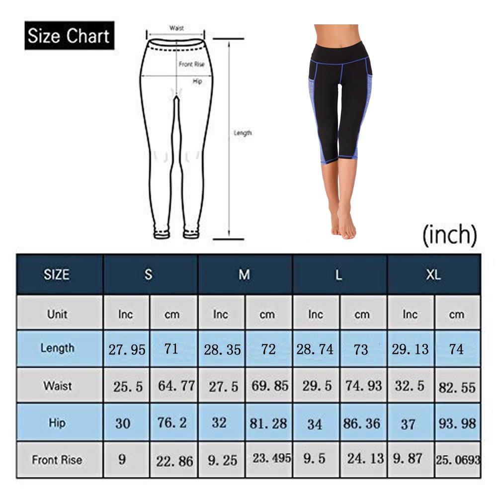 IMIDO Women's Yoga Capri Pants Sport Tights Workout Running Mesh Leggings with Side Pocket (Capri Pants Blue, S)