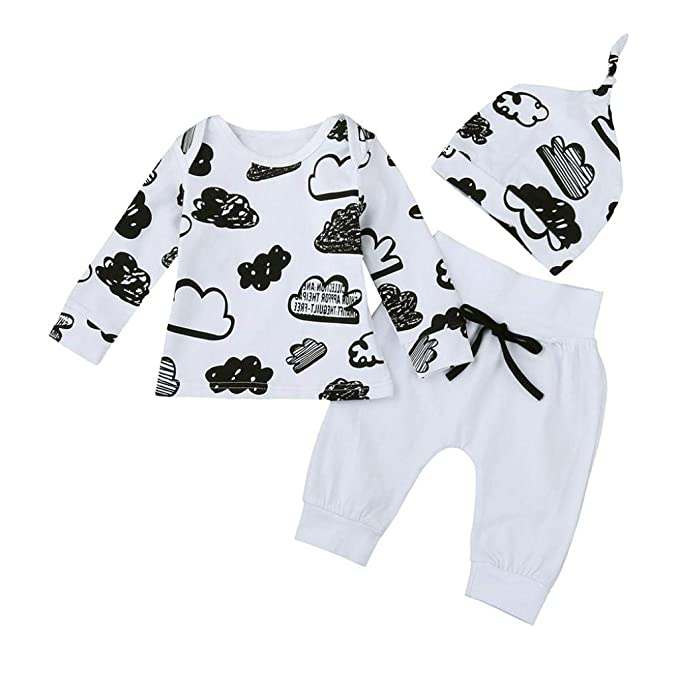 Conjuntos bebé niño,❤️ Modaworld Bebé recién Nacido niña niño Nube impresión Camiseta Tops + Pantalones Conjunto de Ropa Trajes