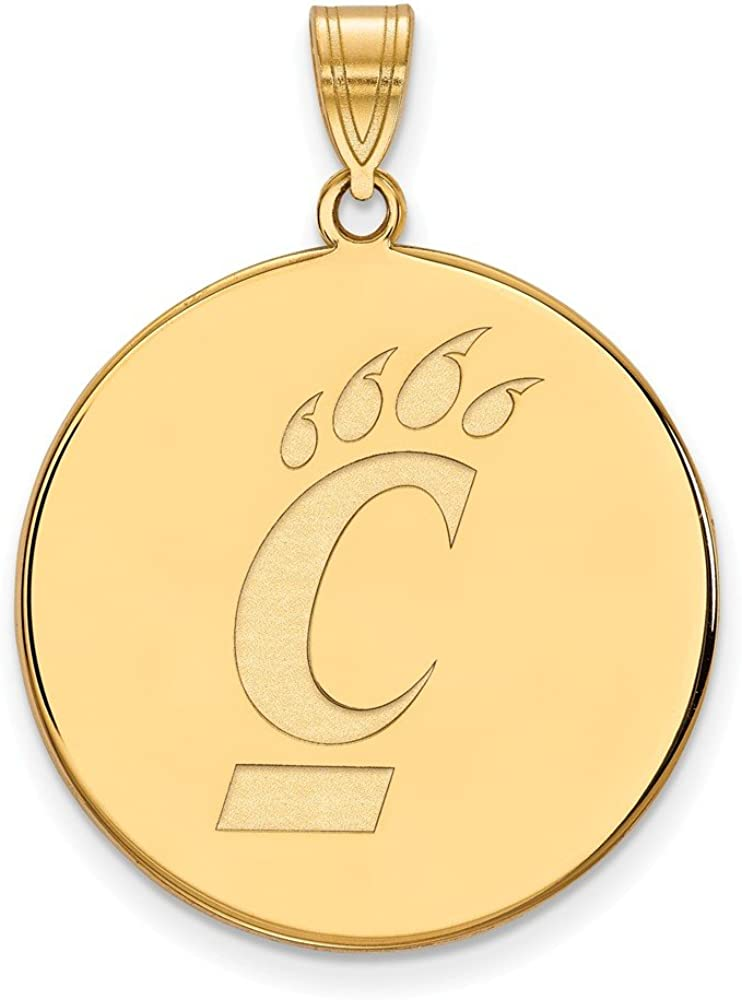 925 Sterling Silver Yellow Gold-Plated Official University of Cincinnati XL Extra Large Big Disc Pendant Charm 32mm x 25mm