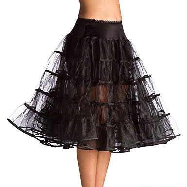 Bridal_Mall Bridal White Womens Vintage 50 Tea Length Petticoat For Evening Dresses Tutu Underskirt - Black