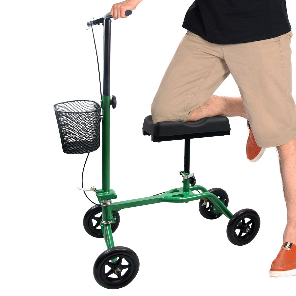 H&A Steerable Knee Walker Scooter with Basket and Leg Cast Protector, Medical Walker Scooter Alternative to Crutches for Broken Leg and Foot Injuries (Green)