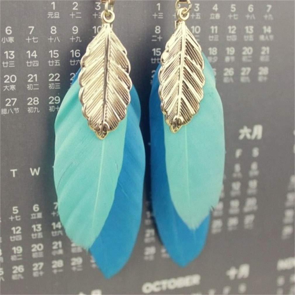Womens Drop Dangle Earrings Handmade Elegant Feather Drop Earrings for Women Accessories Fashion Party Jewelry for Girl Dangle Long Earrings W3-a4
