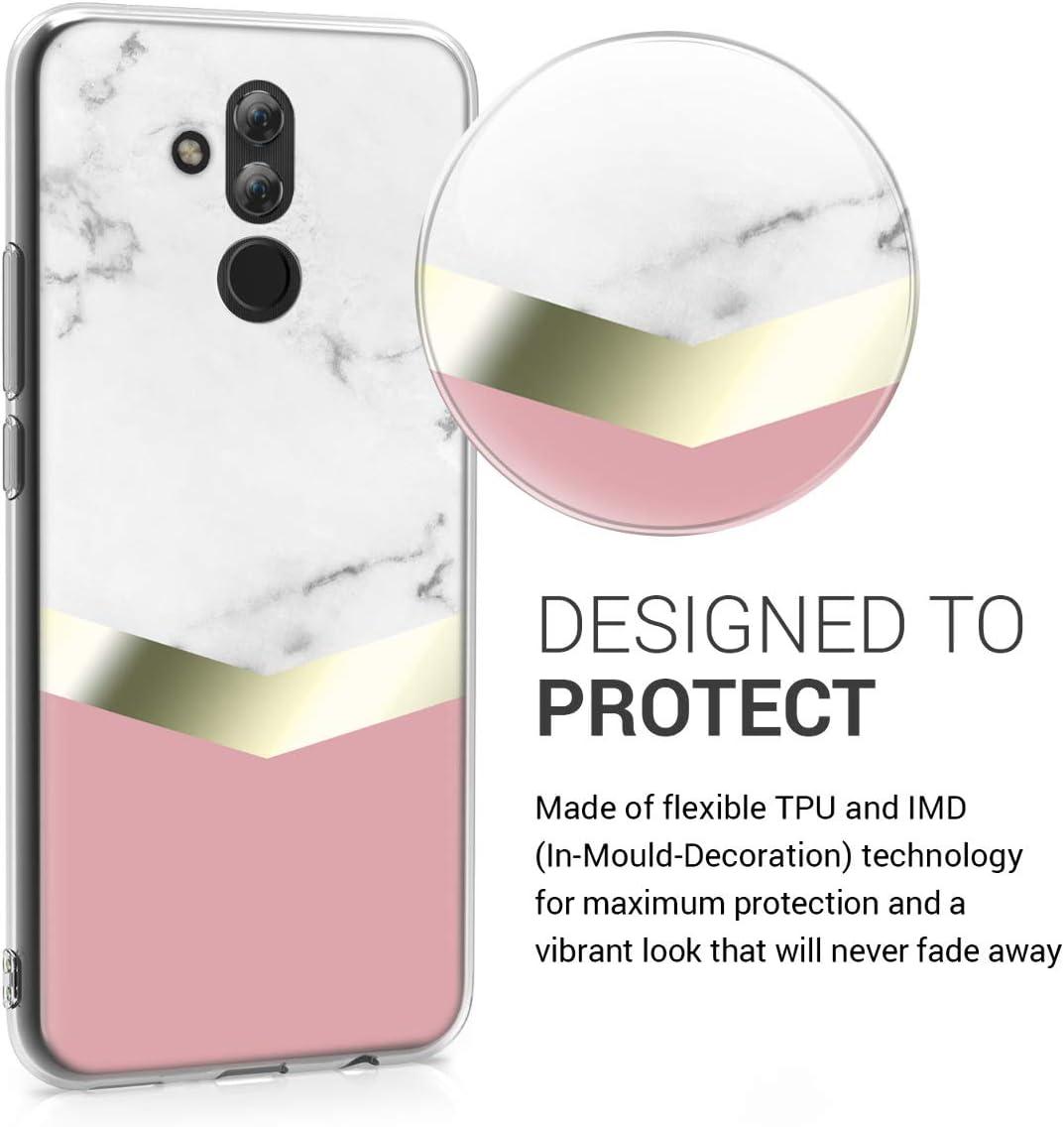 kwmobile Funda Compatible con Huawei Mate 20 Lite Carcasa de TPU y m/ármol y Oro en Oro Rosa//Blanco//Rosa Palo