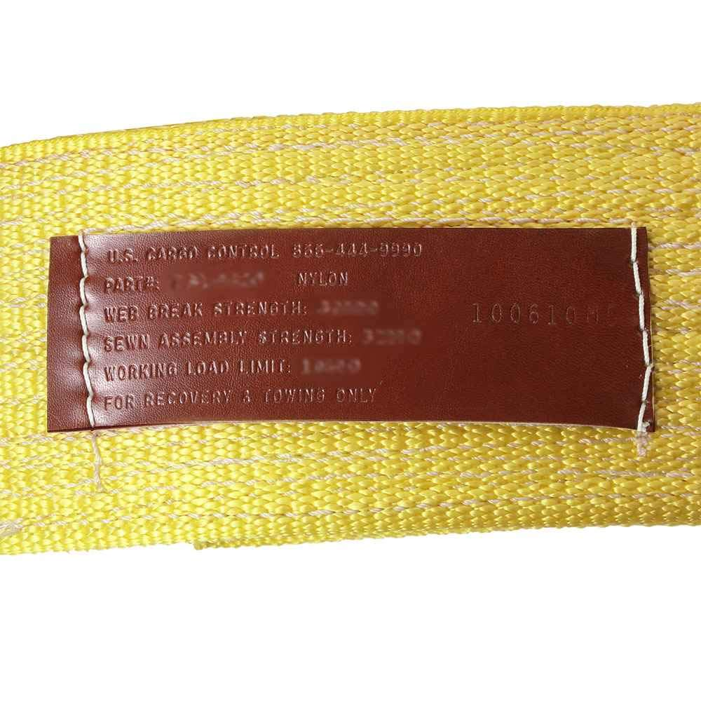 4'' x 30' (2-ply) Nylon Recovery Strap/Tow Strap with Cordura Eyes, Made in USA by US Cargo Control