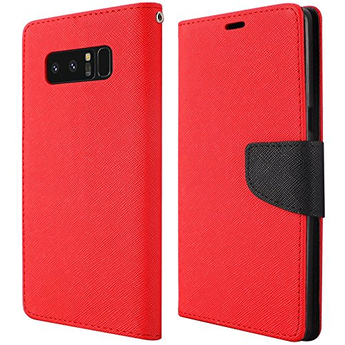 Samsung Galaxy Note 8 Case, Luckiefind Design Premium PU Leather Flip Wallet Credit Card Cover Case, Stylus Pen Accessories (Red)