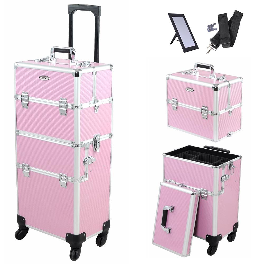 AW 14x9x29'' 2In1 Pink 4 Wheel Rolling Aluminum Makeup Artist Lockable Cosmetic Train Case