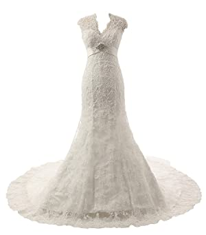 XJLY V-neckline Lace Appliques Cap Sleeves Long Wedding Dress18W