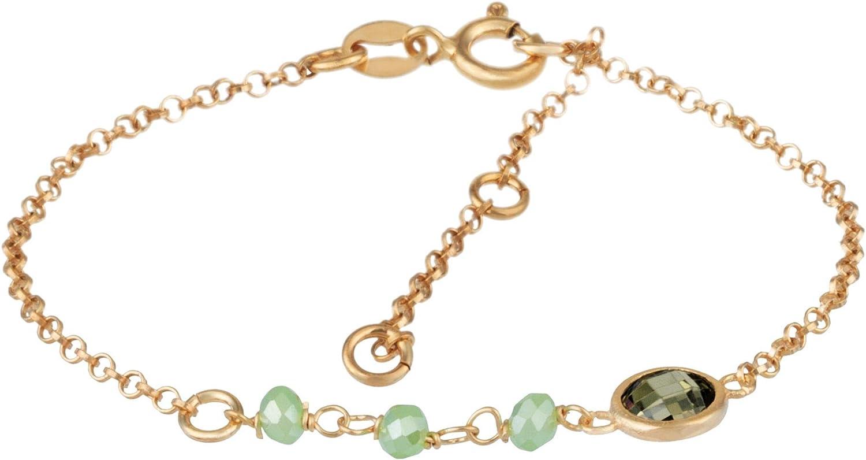 Córdoba Jewels |Pulsera en Plata de Ley 925 bañada en Oro con Piedra semipreciosa y Swarovski con diseño Dolce Mini Jade Swarovski Gold