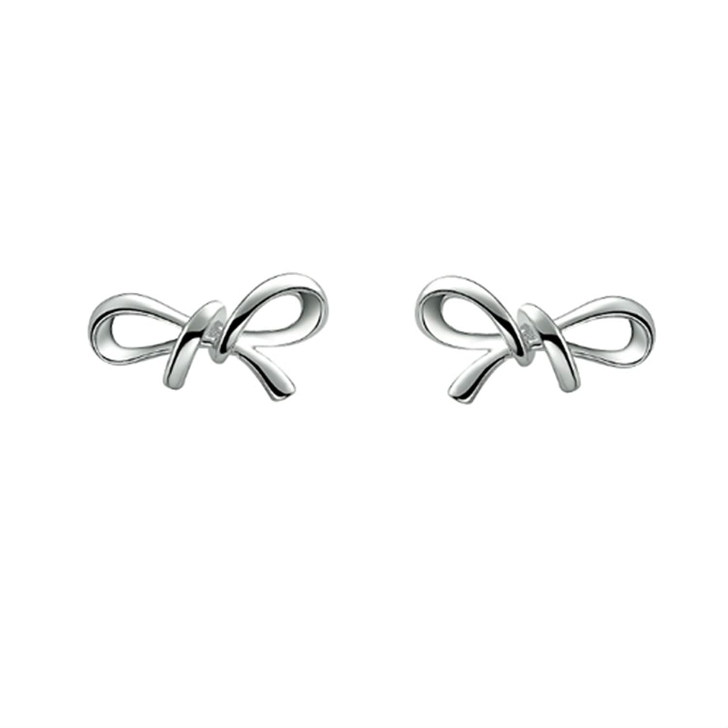 Mother/'s Day Bow Stud Earrings 14K Gold Over 925 Sterling Silver