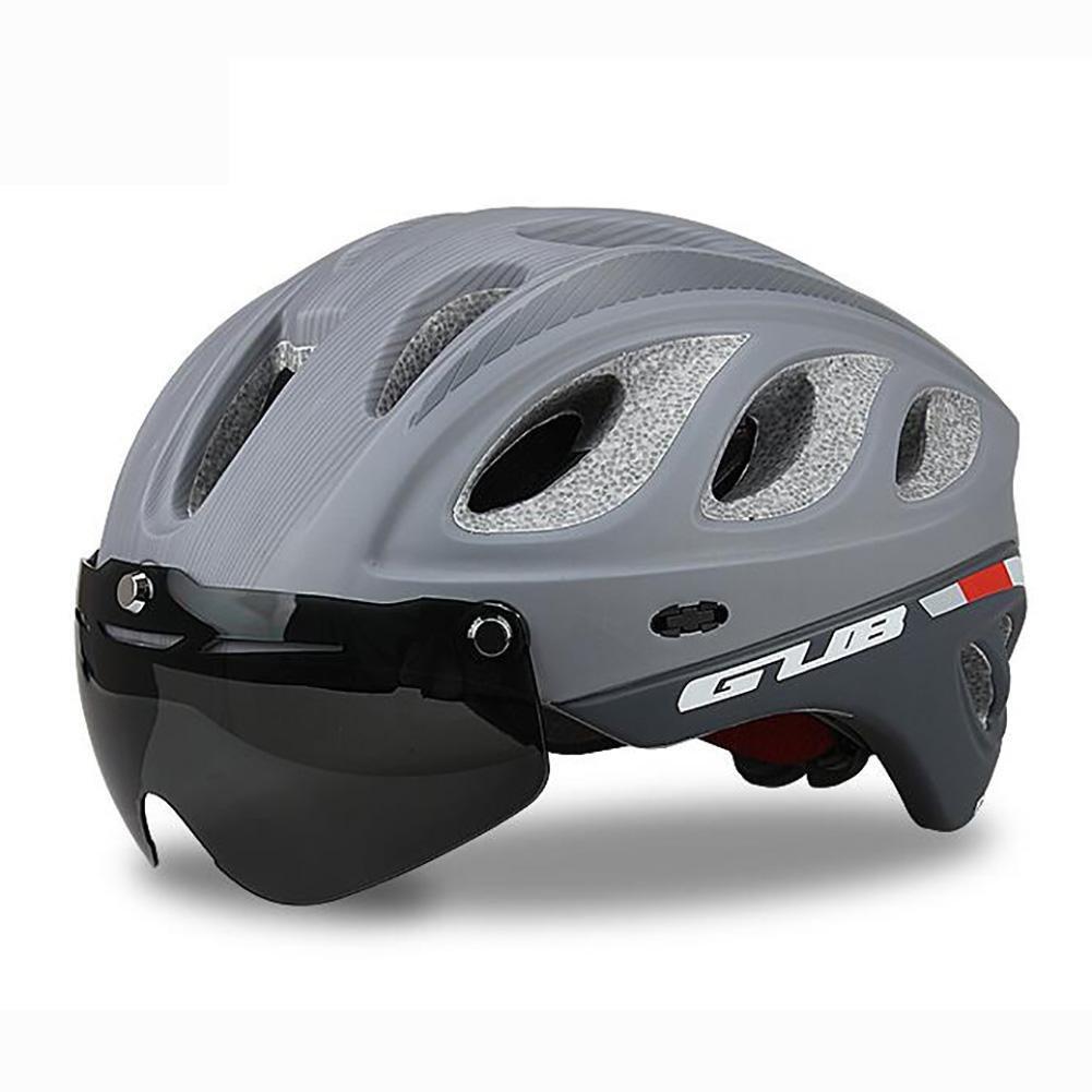 MIAO Fahrradhelm - Outdoor Männlich und Weißlich Road   Mountain Bike Helm Reiten Schutzausrüstung mit Schutzbrille schwarz