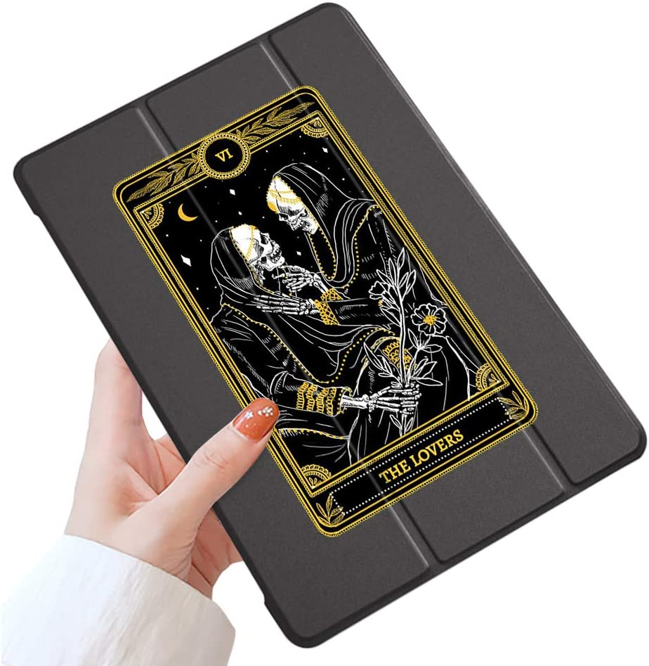 LuGeKe Skeleton Case for iPad 9.7 inch 2018 iPad 6th Generation / 2017 iPad 5th Generation,Tarot Cards Patterned iPad Case Cover,Lightweight Slim Standing iPad Pro Cover for Boys Men,Skull Lover