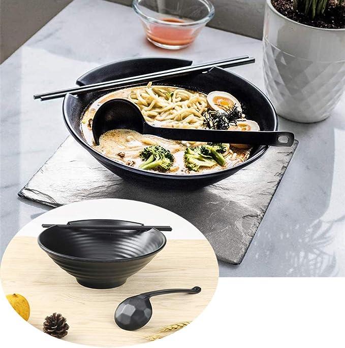 2 juegos Set de tazones de sopa de estilo japonés de 6 piezas Juego de tazón de melamina Ramen, tazón de cereal con cucharas y palillos a juego para ramen, Pho, fideos,