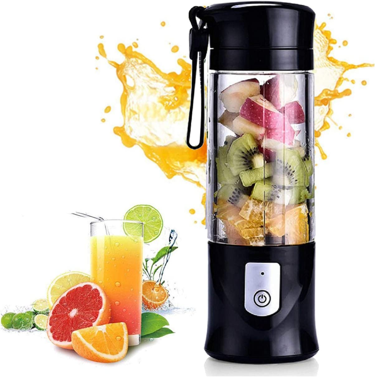 Portable Blender, Cordless Mini Personal Blender Juicer Cup, Single Serve Fruit Mixer, Small Travel Blender for Shakes and Smoothies, with 4000mAh USB Rechargeable Battery, 420ml, BPA-Free (Black)