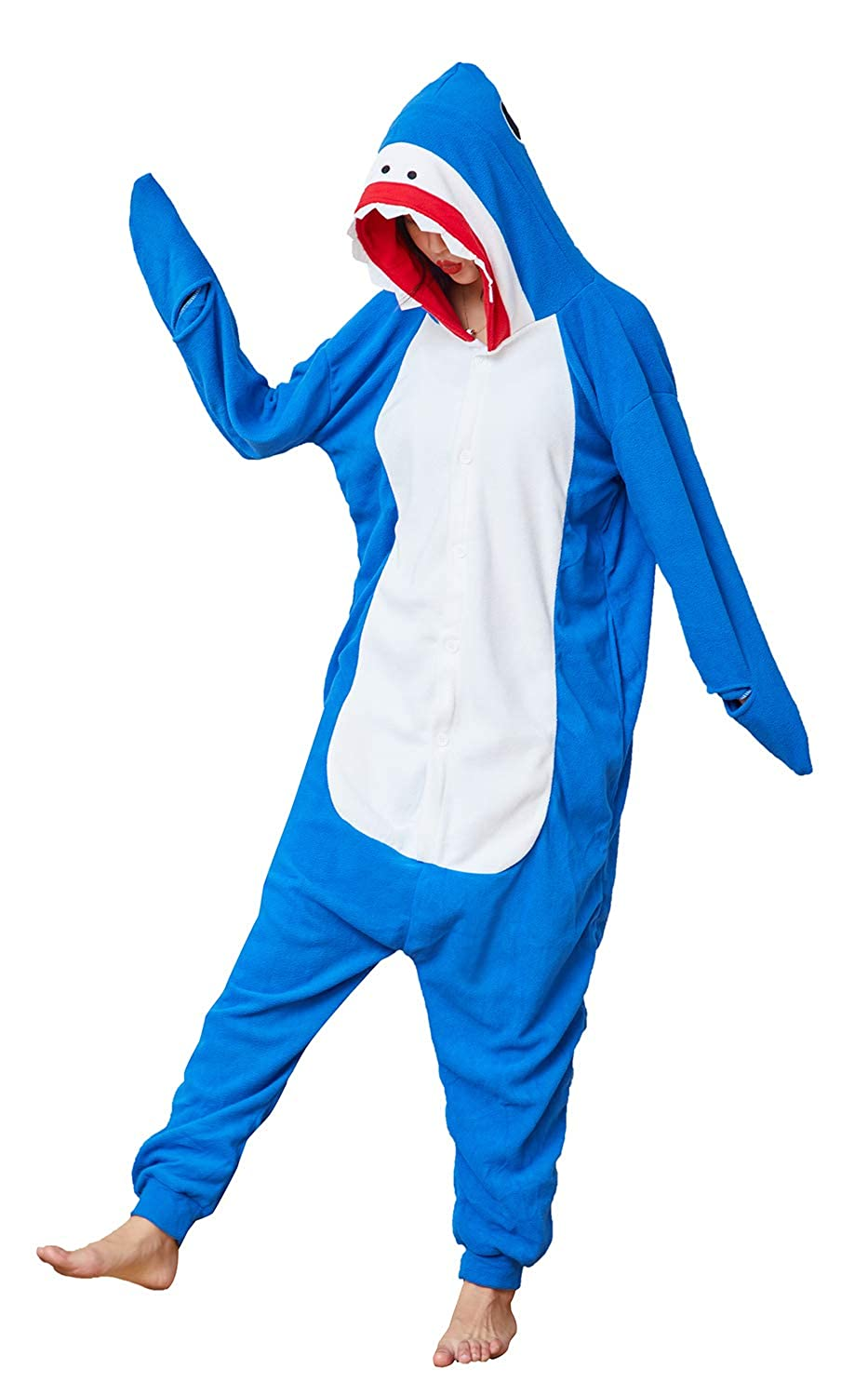 Sharky Shark Onesies Pajamas,Adult Animal Cosplay Costumes for Women Men