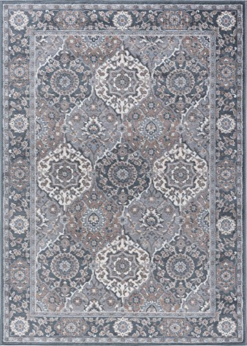 Newcomb Traditional Oriental Gray Rectangle Area Rug, 7.6' x 10'