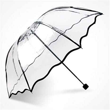 Kongsta Hot Selling Transparent Umbrella Three Folding Umbrella Rain Women Cheap Paraguas Small Fresh Parasols 4