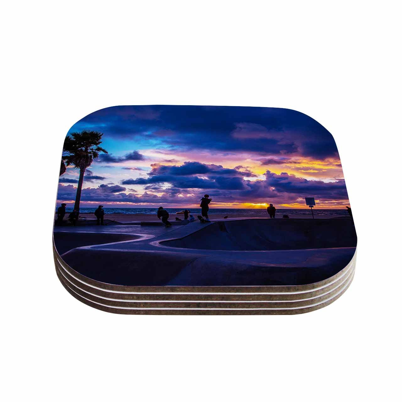 KESS InHouse Juan Paolo'Dog town' Blue Coasters (Set of 4), 4 x 4', Multicolor