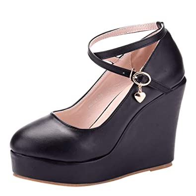 4997796ff4a12 Amazon.com | Women's Ladies Fashion High Wedge Side Strap Open Toe ...