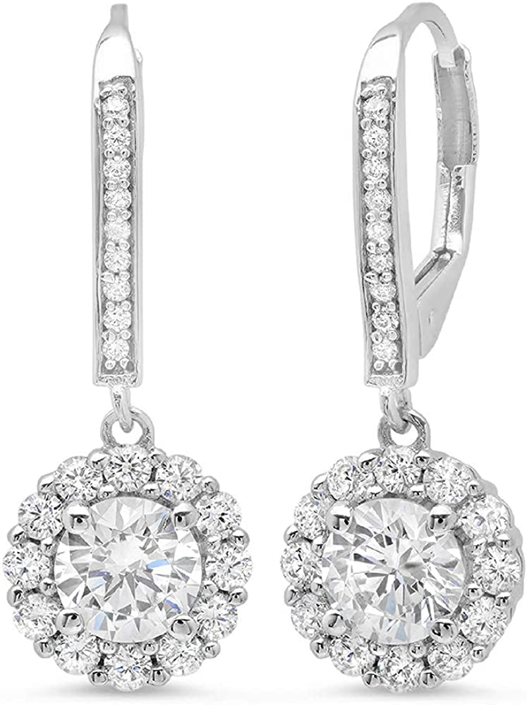 Clara Pucci 3.40 CT ROUND CUT Solitaire Halo PAVE DROP DANGLE LEVERBACK EARRINGS 14K White GOLD