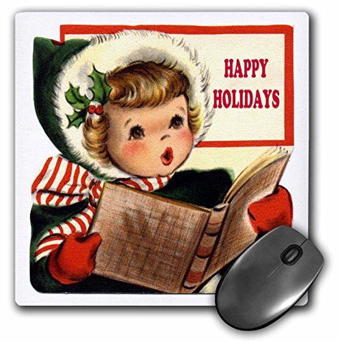 3dRose LLC 8 X 8 X 0.25 Inches Mouse Pad Little Girl Christmas Caroler Wishing Happy Holidays -