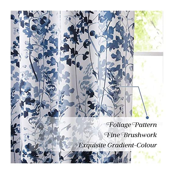 "KGORGE Printed Blackout Curtains with Pattern - Sunlight/UV Ray Reducing Grommet Top Window Draperies, Elegant Watercolor Foliage Patterned Art Gallery/Salon Decoration (Blue, W52 x L63, 2 Pcs) - READY MADE: Sold in pair, KGORGE Printed Blackout Curtains measure 52"" wide by 63"" long per panel. 8 silver grommet top fit any standard or decorative curtain rods up to 1.5"". Easy and convenient to hang as soon as you receive it. WATERCOLOR PAINTING: The vivid foliage pattern on white background gives the curtain an exclusive look with natural and exuberant sense. The watercolor gradient-blue is just perfect, lending artistic sophisticated feeling to your rooms. ROOM DARKENING: Providing 80%-95% sunlight/UV ray blocking, the curtains serve well for night shift workers and late sleepers. It also can fulfill your different needs like temperature balance, noise reduction and privacy protection... - living-room-soft-furnishings, living-room, draperies-curtains-shades - 61hh1zw07GL. SS570  -"
