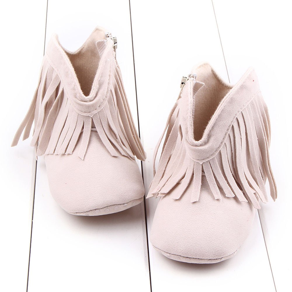 Lanhui Toddler Infant Newborn Baby Girl Shoes Soft Sole Boots Prewalker Tassel Shoes