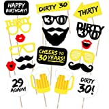 DIY 30th Birthday Party Photo Booth Props Kit – Suitable for His or Hers 30th Birthday Celebration - 20 Pcs