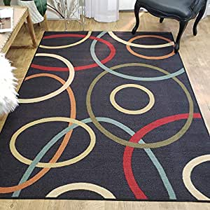 Amazon Com Area Rug 5x7 Black Circles Kitchen Rugs And