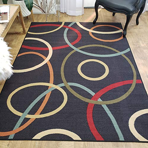 Area Rug 3×5 Black Circles Kitchen Rugs and mats | Rubber Backed Non Skid Rug Living Room Bathroom Nursery Home Decor Under Door Entryway Floor Non Slip Washable | Made in Europe