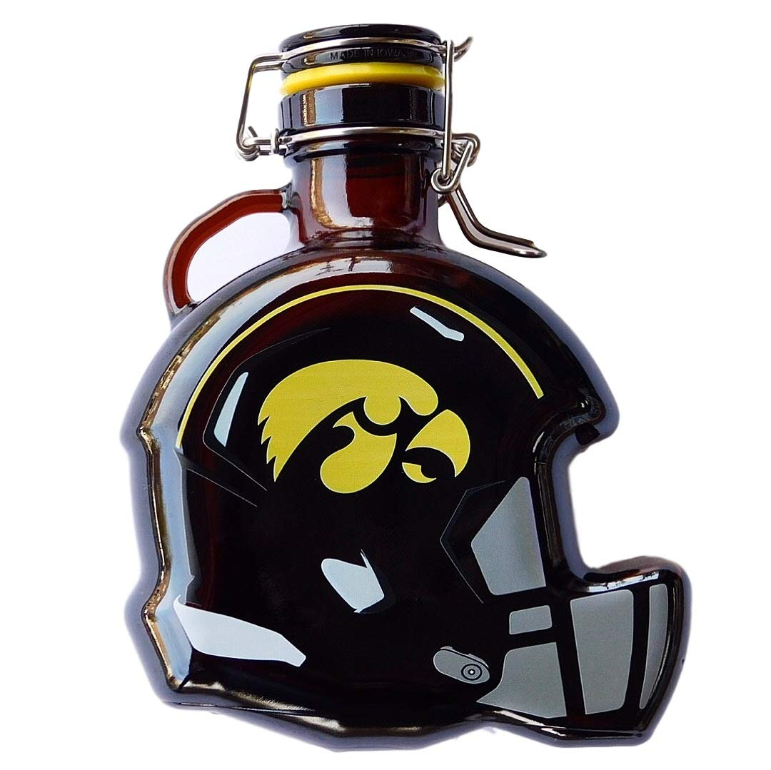 Martin's Flag Iowa Hawkeyes Glass Beer Growler or Piggy Bank, Holds 50 oz., 7'' L x 4'' W x 9 1/4'' H