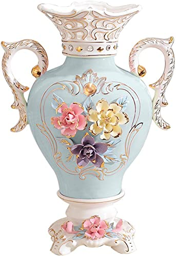ufengke European Vintage Ceramic Vase,3D Flowers Binaural Porcelain Vase,for Wedding Decoration and Gift,13.8″,Blue