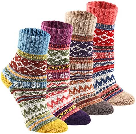 Keaza Womens 4-pack Vintage Style Cotton Knitting Wool Warm Winter Fall Crew Socks