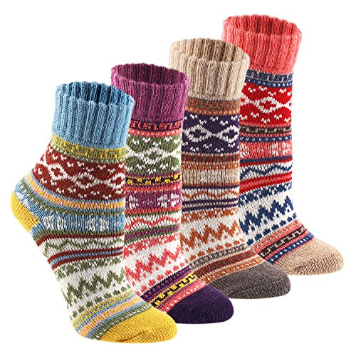 Socks Knit (Keaza Women's Vintage Style Cotton Knitting Wool Warm Winter Fall Crew Socks - C1 (4 Pack))
