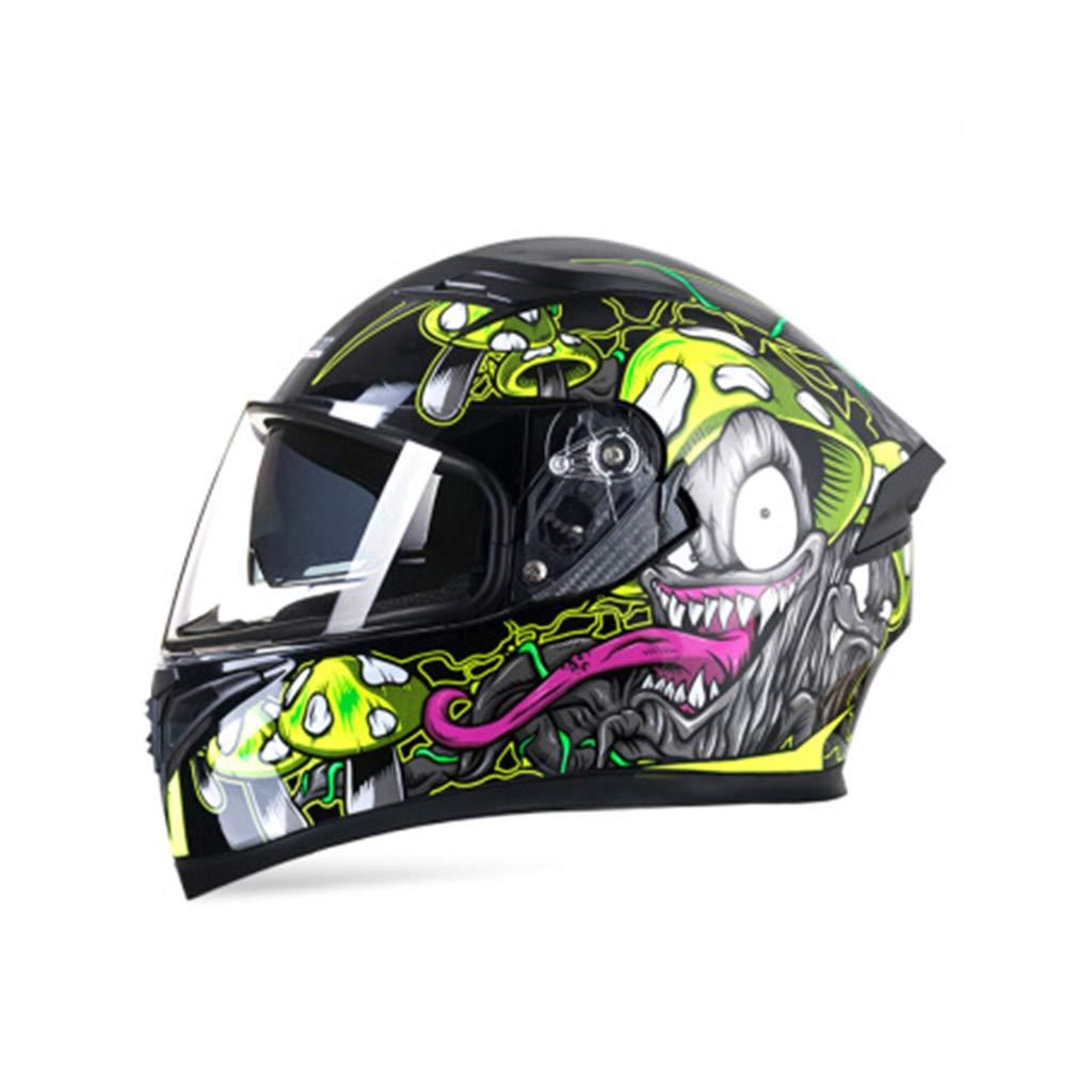 レーシングオートバイのヘルメット男性の電気自動車のフルフェイスヘルメット女性の防曇二重レンズ毒キノコ4つのシーズンユニバーサルは、頭の周りに適して56から63センチメートルMXLの大きな小さなXXL番号の人格クール (色 : High definition lens, サイズ さいず : XXl 63-64cm) XXl 63-64cm High definition lens B07KVHP1V3