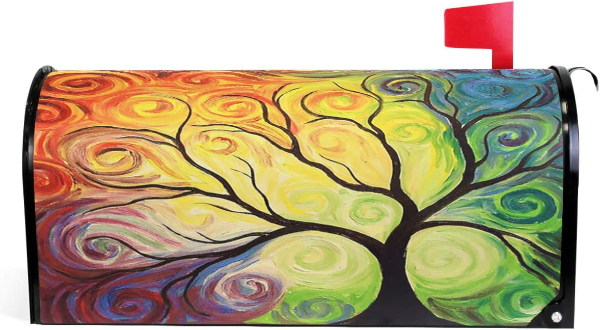 """Colorful Rainbow Tree of Life Branch Mailbox Covers Standard Size Abstract Tree of Life Summer Spring Autumn Winter Magnetic Mail Cover Letter Post Box 21"""" Lx 18"""" W"""