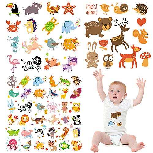 Cute Iron on Transfers for Baby 3 Sets Cartoon Animals Iron on Patches for Kids Lovely Heat Transfer Sticker Patches for Girls Skirts T-Shirts Bags Clothing DIY Decorations Garments Accessories