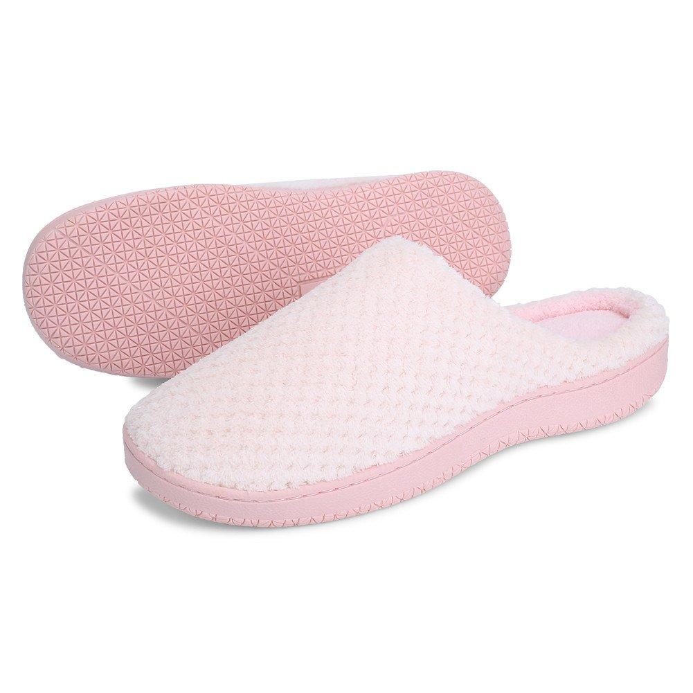 JIASUQI Women's Winter Fur House Slippers Indoor Shoes Light Pink US 7.5-8.5 Women, 6-7 Men by JIASUQI (Image #3)