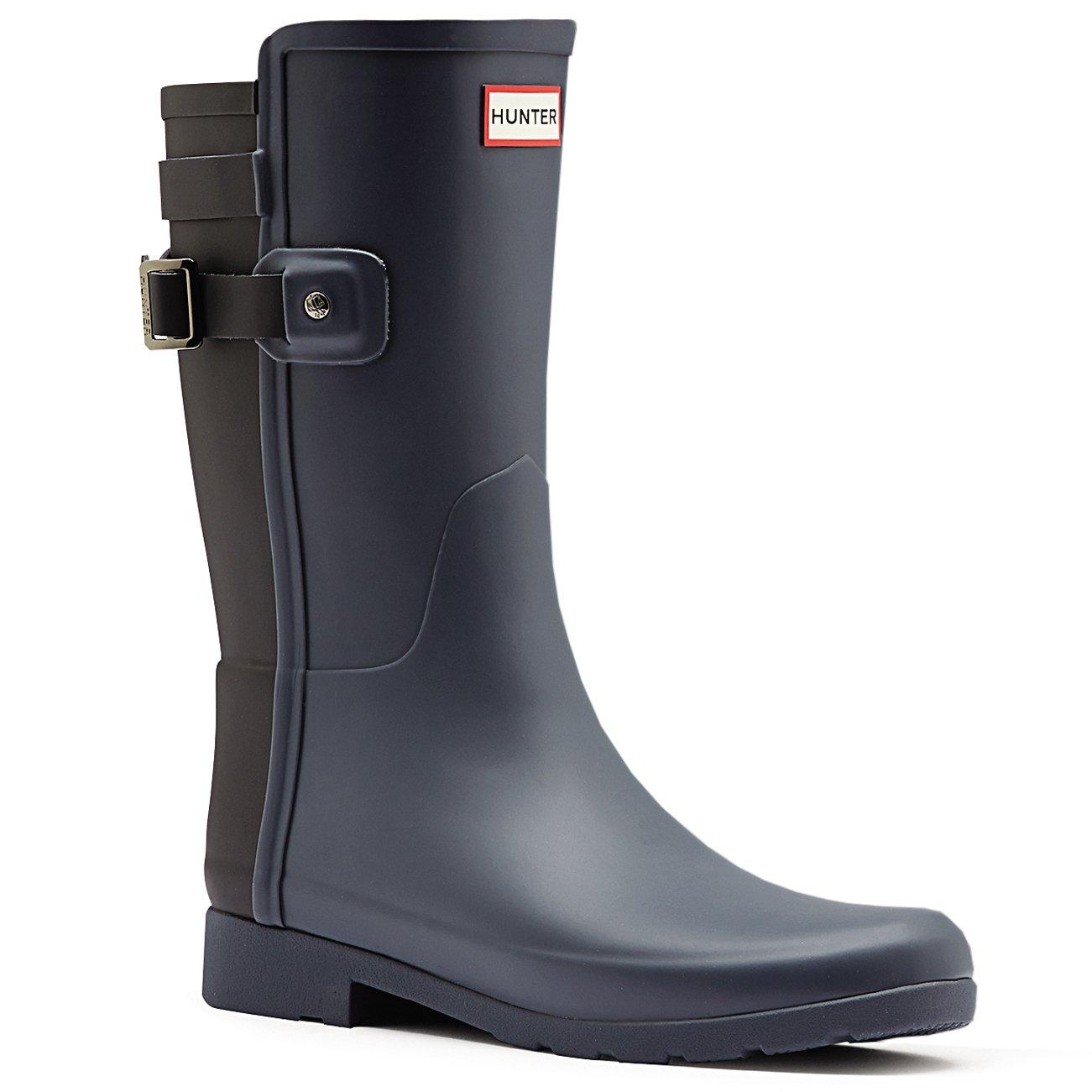 Womens Hunter Original Refined Back Strap Short Wellingtons Rain Boots B01JOTQYYS 9 B(M) US|Dark Slate/Black