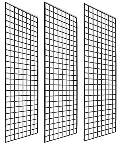 - Only Garment Racks #1900B (Box of 3) Grid Panel for Retail Display - Perfect Metal Grid for Any Retail Display, 2'x 6', 3 Grids Per Carton (Black Finish)