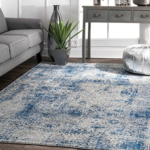 nuLOOM Traditional Vintage Faded Shadow Mystique Area Rugs, 8' x 10', Blue