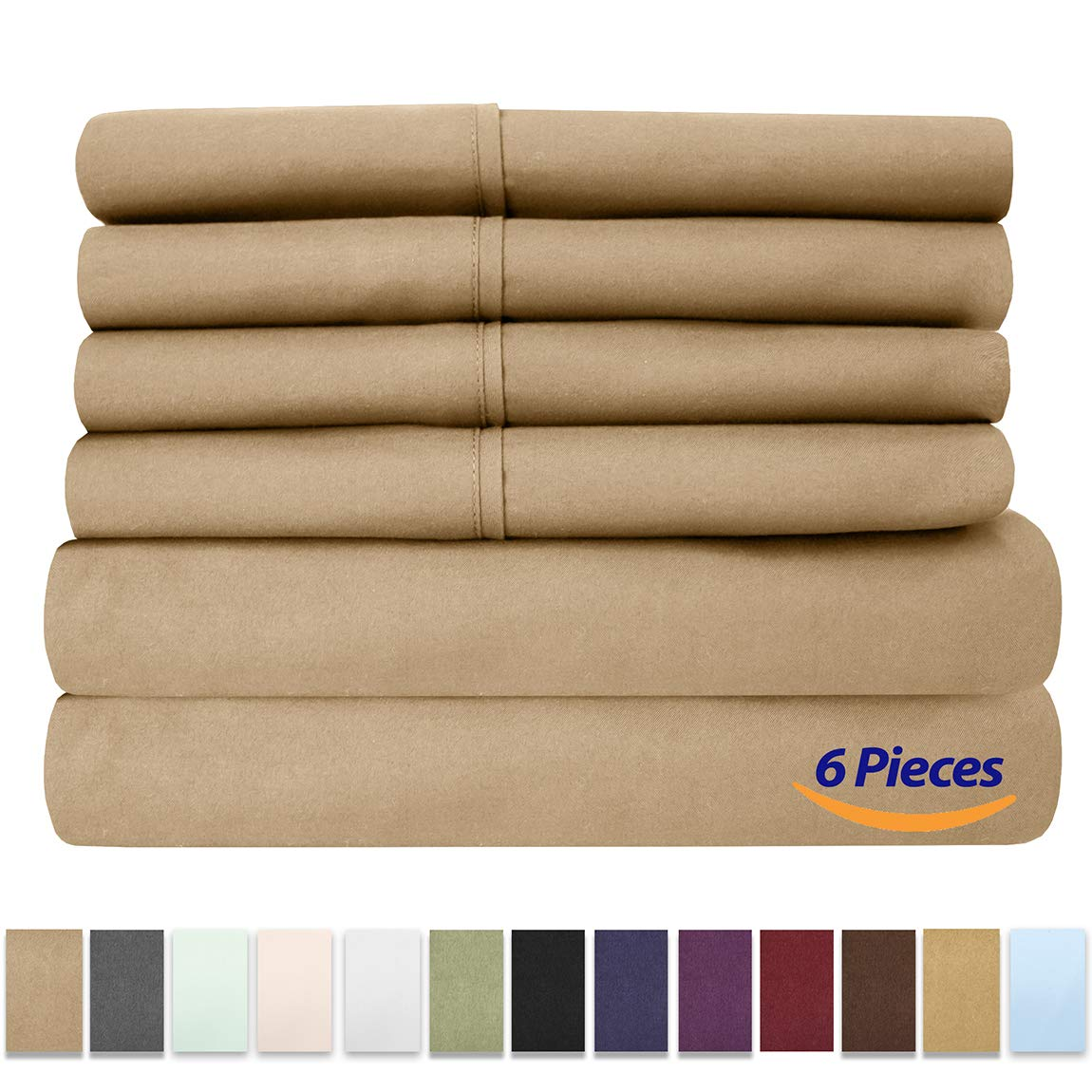 Sweet Home Collection 6 Piece 1500 Thread Count Brushed Microfiber Deep Pocket Sheet Set - 2 EXTRA PILLOW CASES, VALUE RV Short Queen Taupe